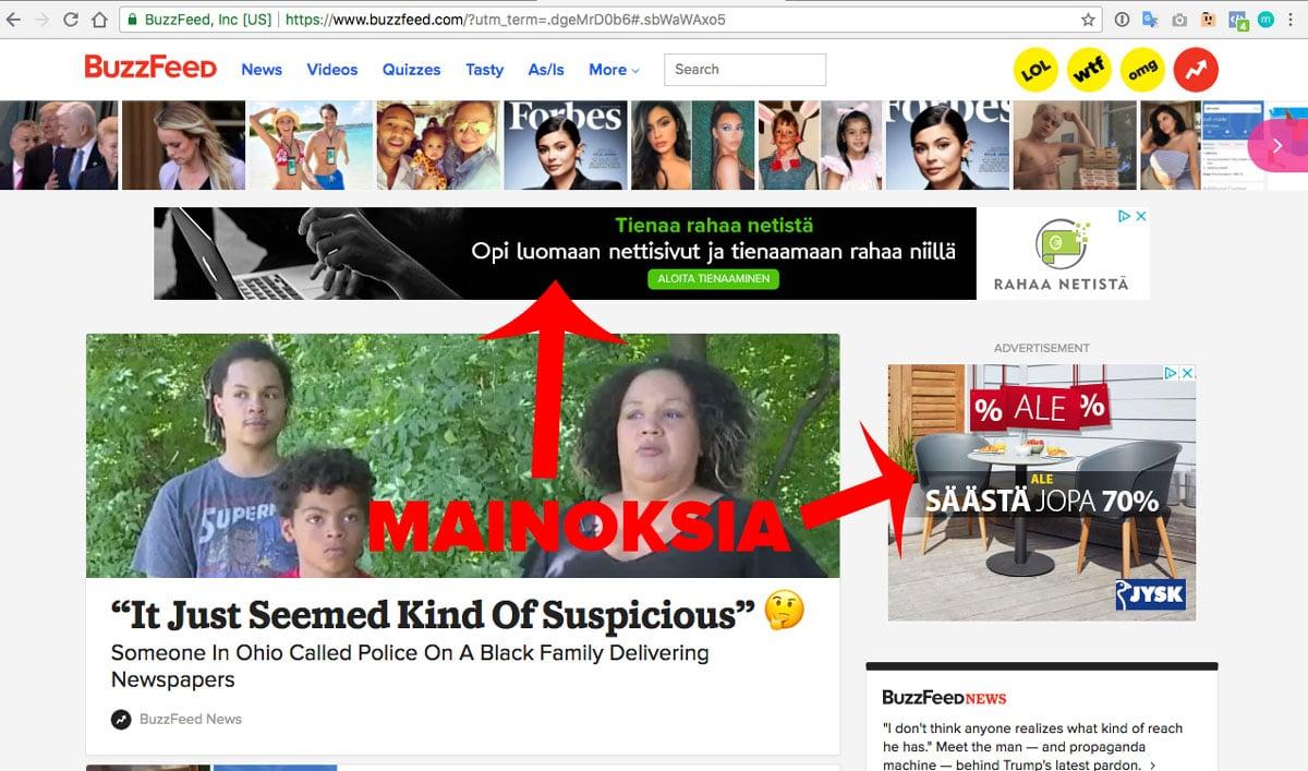 Esimerkki mainoksista BuzzFed nettisivuilla